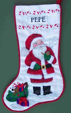 Santa Gets Ready Christmas Stocking