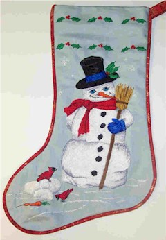 Snowmans Greeting Christmas Stocking