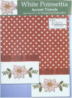 White Poinsettia Accent Towels