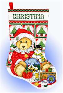 Teddy Bear Santa Stocking