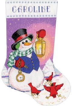 Snowman with Lantern Stocking