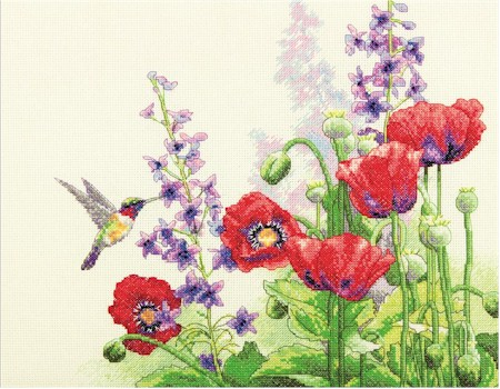 Hummingbird and Poppies