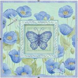 Blue Poppies and Butterfly