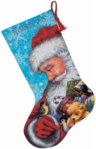 Santa and Toys Needplepoint Stocking