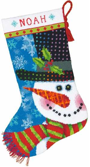 Patterned Snowman Stocking