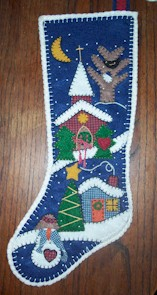Appliqued Felt stocking Shop Model