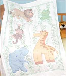 Crib Quilt Top Jungle Fun