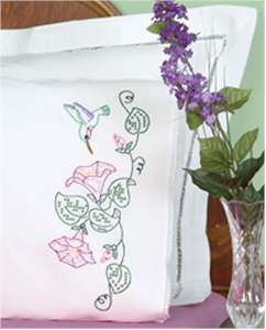 Hummingbird & Morning Glories Peale Edge Pillowcases