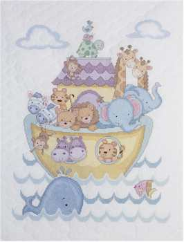 Noah's Ark Crib Stamped Cover Kit