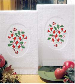 Candy Canes Terry Accent Towels