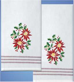 Poinsettia Kitchen Accent Towels