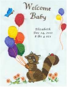 Balloons and Raccoon Baby Birth Sampler