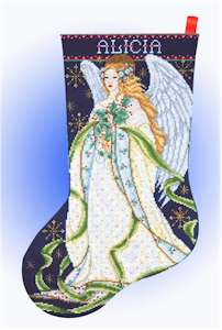 Holly Angel Stocking