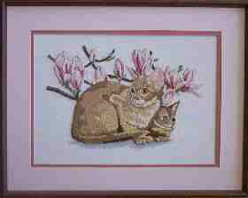 Cat with Magnolias