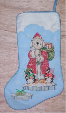 Polar Bear Santa and Penguins Model Stocking