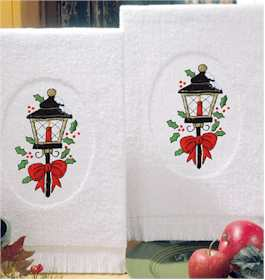 Christmas Lanterns Terry Accent Towels