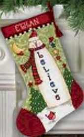 Believe Snowman Stocking